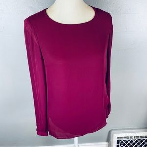 Banana Republic chiffon blouse long sleeve S pink